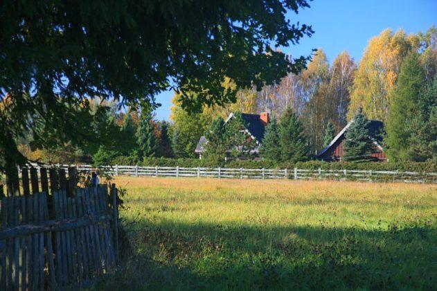 dwa drewniane domy wokół zieleń