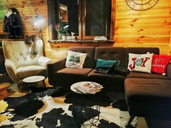 pokój z drewnianymi ścianami i poduszkami z łosiami