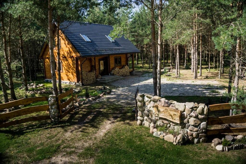 drewniana chata w środku lasu