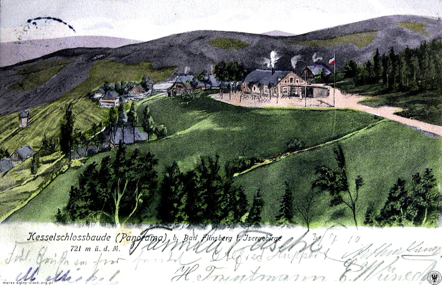 stara widokówka pokazująca ośrodek wypoczynkowy w Górach Izerskich, na widokówce niemieckie, odręczne napisy