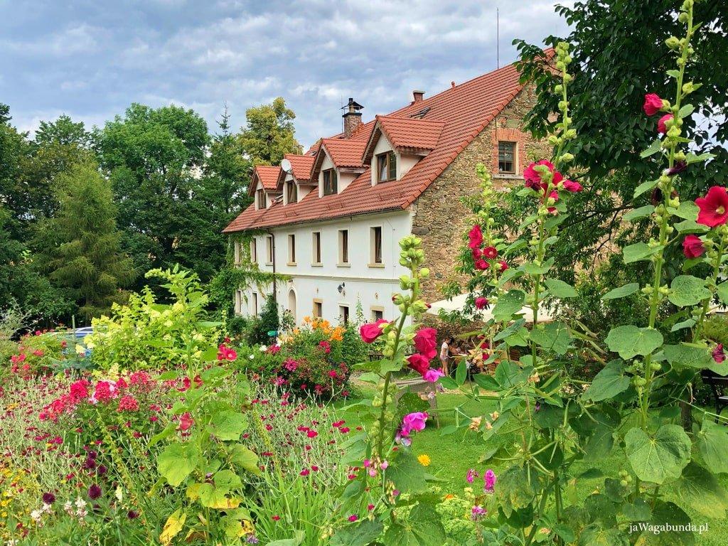 tonący w kwiatach budynek agroturystyki pięknie odrestaurowany