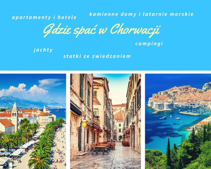 kartka z widokami z Chorwacji z napisem gdzie znaleść nocleg w Chorwacji