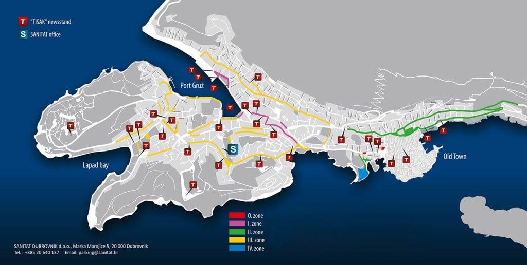 mapa z miejscami do parkowania